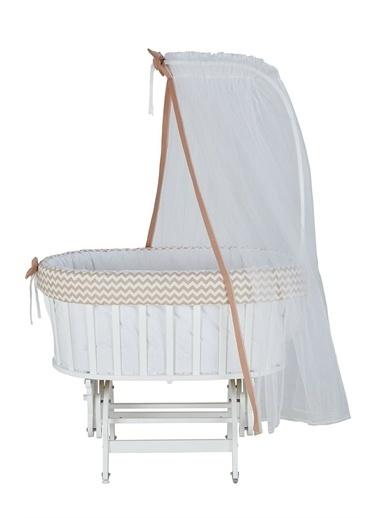 Babycom Lake Beyaz Sepet Beşik + Gri Zikzak Uyku Seti Gri